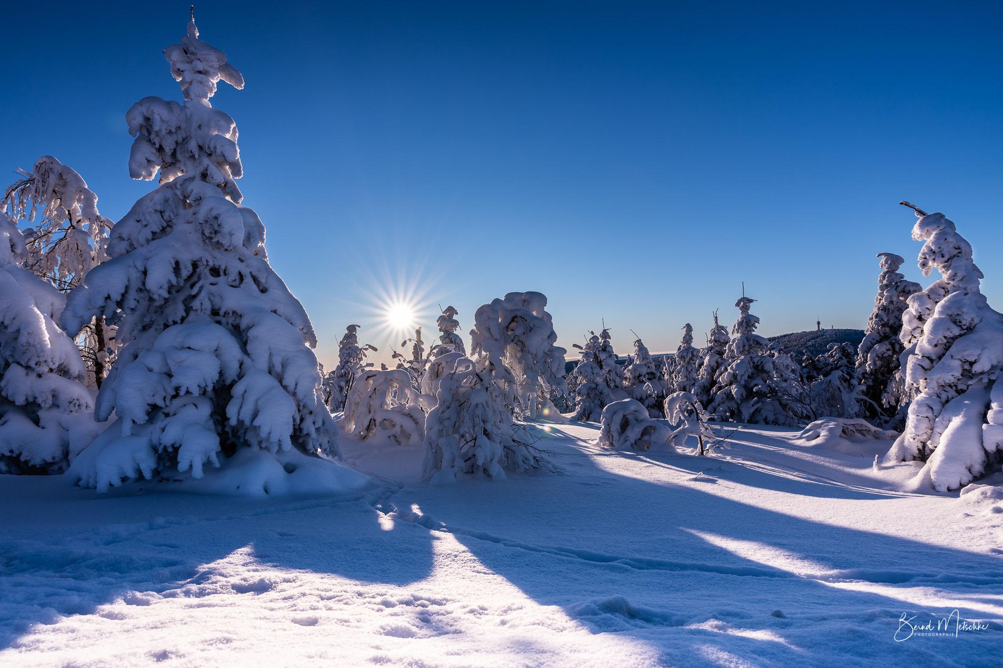 Herrlicher Sonnenaufgang auf dem Fichtelberg