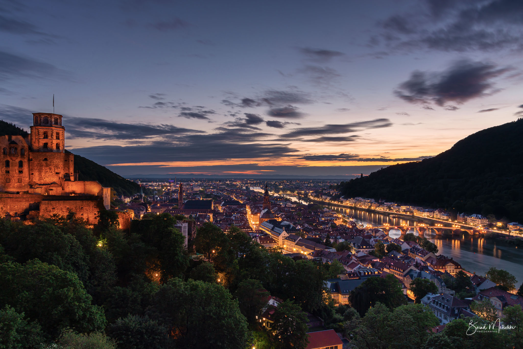 Schlossruine - Alte Brücke - Neckar in Heidelberg