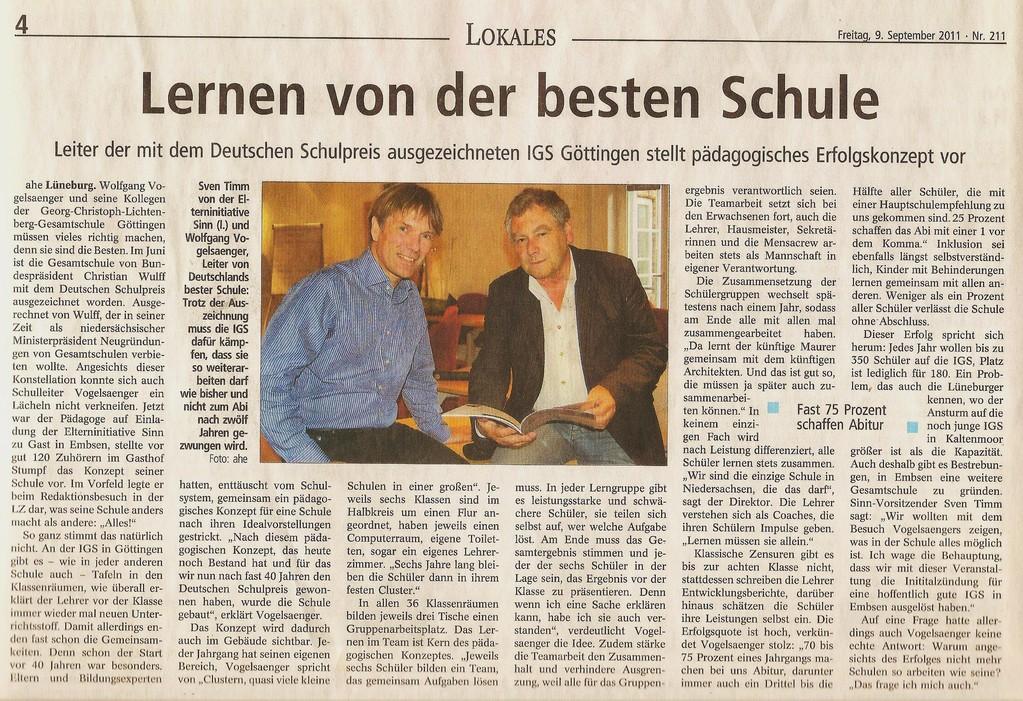 09.09.2011 LZ - Lernen von der besten Schule Deutschlands