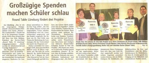 Landeszeitung 7.März 2012: Round Table fördert Mathe an der IGS