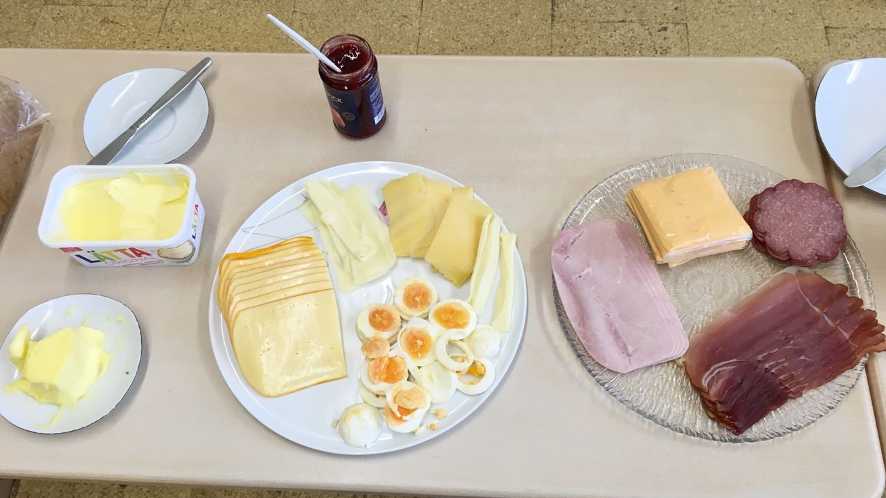 cheese, egg, butter and strawberry jam.