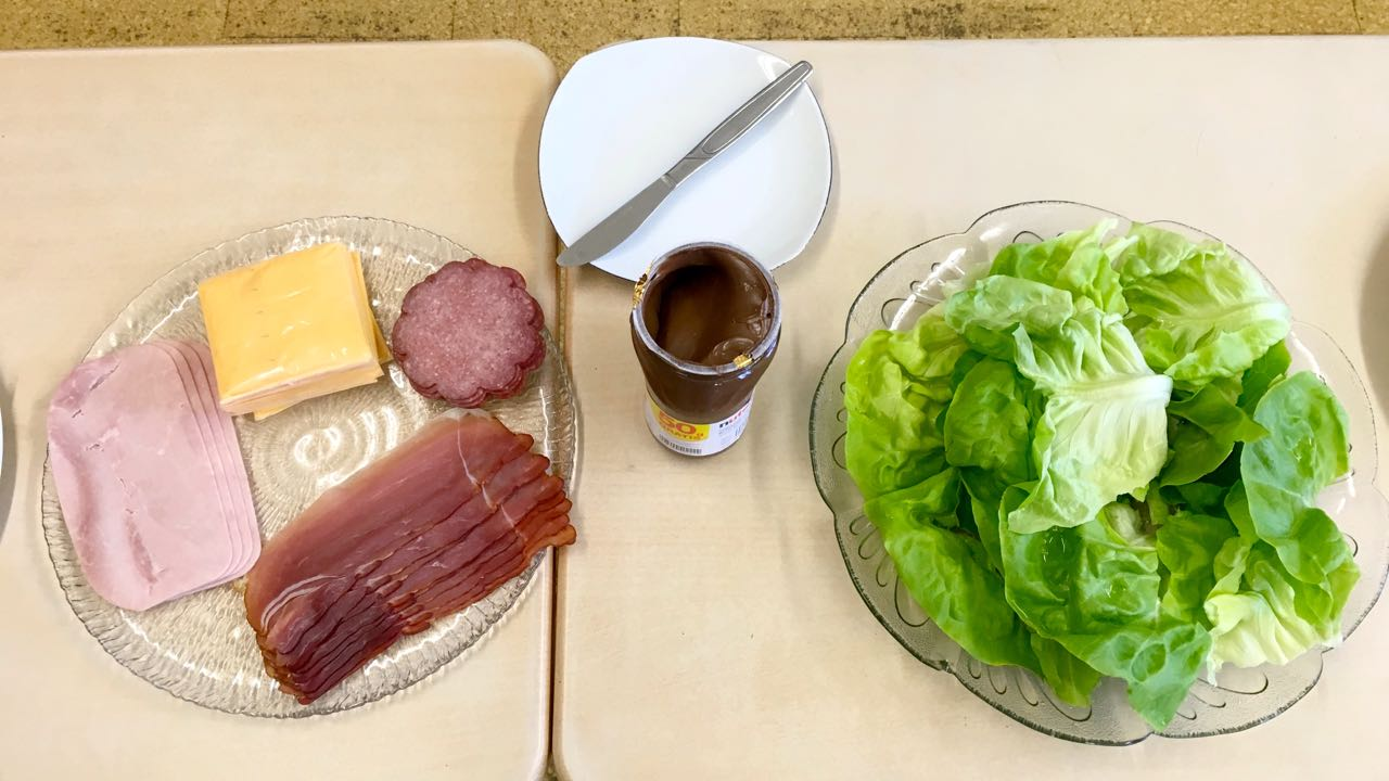 ham, salami, nutella and lettuce,