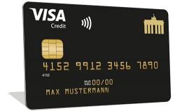 Deutschland-Kreditkarte Gold, eine Visa Kreditkarte mit Verfügungsrahmen
