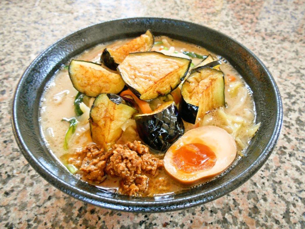 揚げたて絹川なすの野菜たっぷりラーメン(季節限定)