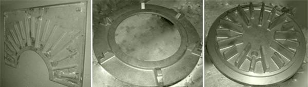 フィントップ表面プレート写真 左:両サイドプレート 中:センターリング 右:センタープレート