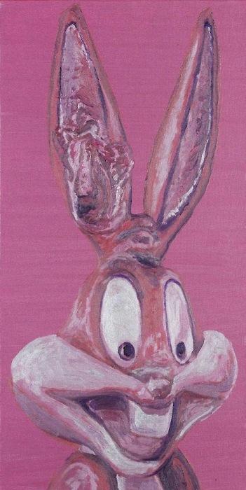 Laurent Gugli-Bunny Face 80x40 cm Acrylique sur toile