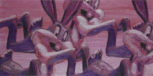Laurent Gugli-Bunny Fly 80x40 cm Acrylique sur toile