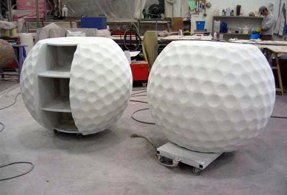 Mostradores de Stand en forma de pelotas de golf gigantes