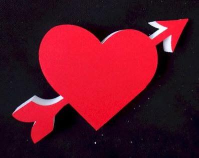 Corazón flechado, para San Valentín