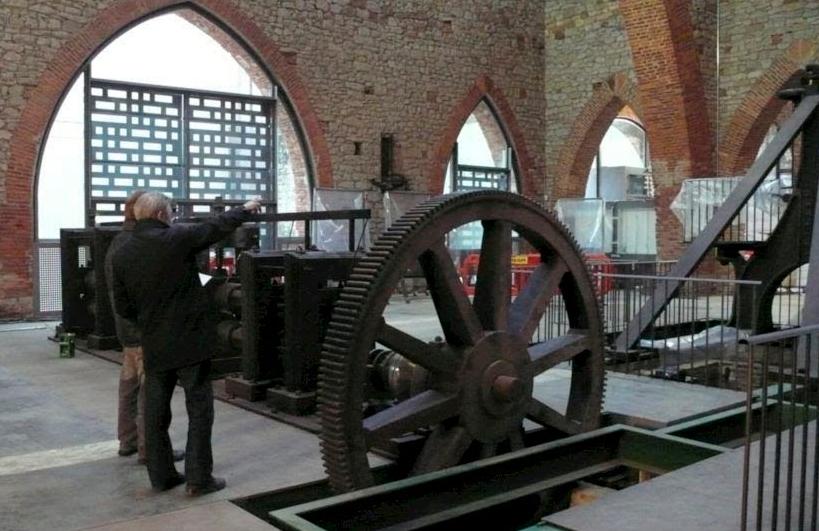 reconstrucción de Maquinaria Siglo XIX, tren de laminado, Ferrería de San Blas, Museo de la Minería u de la Siderurgia, Sabero, - León