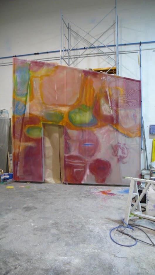 Telón Escenográfico, pintado a mano sobre gobelin Tul.