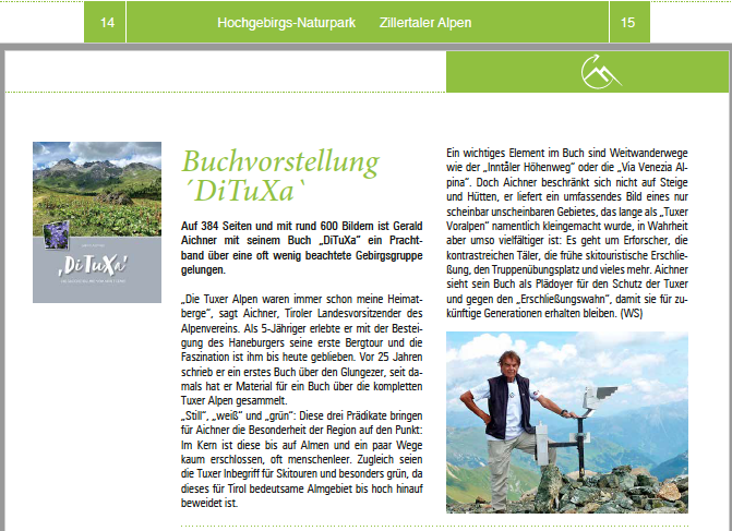 Naturpark Zeitung Zillertal  Sommer 2021