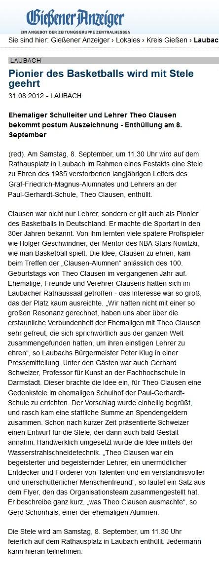 Presseartikel zu den Clausenalumnen - Clausenalumnat-Ehemalige