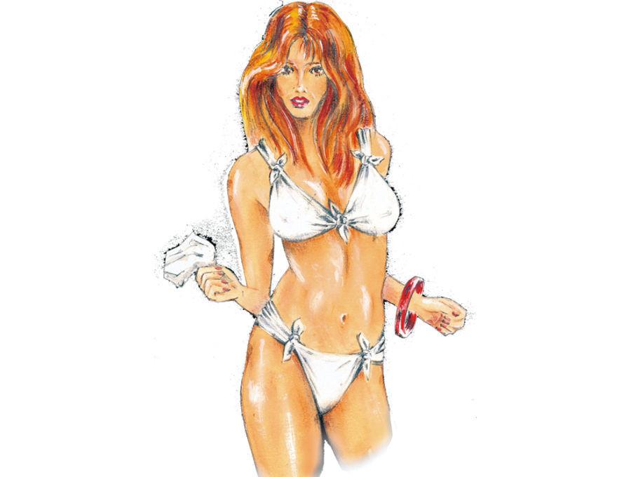 """Veröffentlichung in Illustrierte zum Thema """"Was macht eine Frau am Strand, wenn ihr die Kleider geklaut wurden und nur noch Papiertaschentücher da sind?"""""""