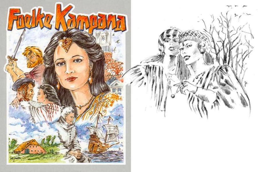 """Take Janssen: Buchtitel zu """"Foelke Kampana"""" - die nach der Ermordung ihres Gatten Okko tom Brook """"der"""" erste weibliche (und grausame)  Häuptling wurde. Sie wurde auch """"Quade Foelke"""" genannt."""