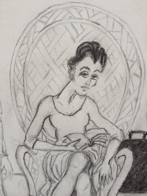 Dolores dans la chambre du motel de Santa Monica (détail 1).