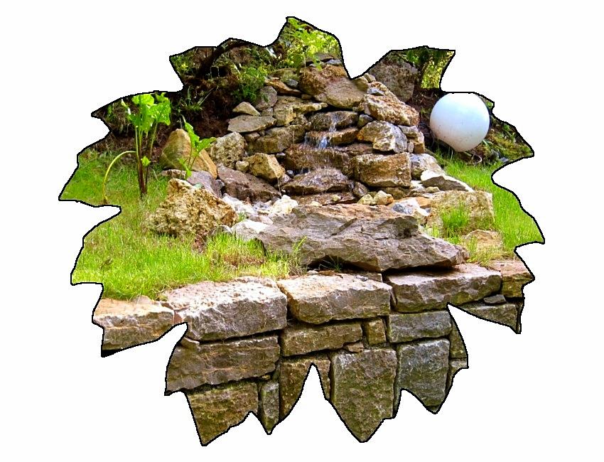 Wasserspiel-Natursteinmauer