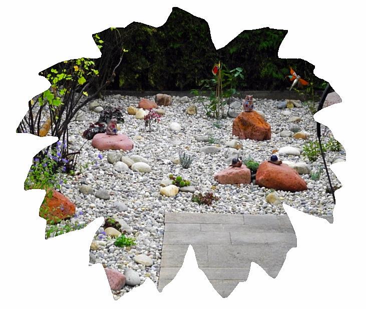Steingarten mit Mainsandstein-Findlingen
