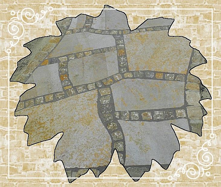 Muschelkalkpolygonalplatten kombiniert mit Pflaster 6/6