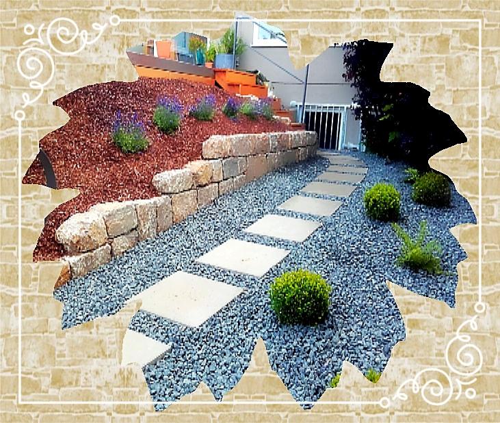 Schrittplattenweg/Kiesgarten/Mauer/Bepflanzung