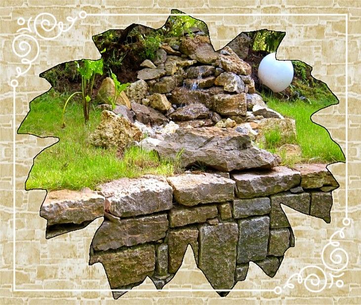 Wasserspiel/Trockenmauer aus Muschelkalk