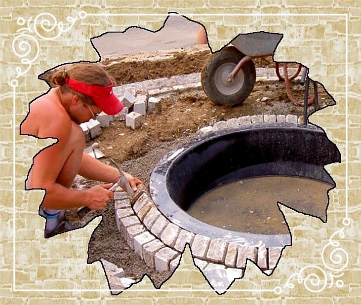 Brunnenanlage/Einfassung Muschelkalkpflaster