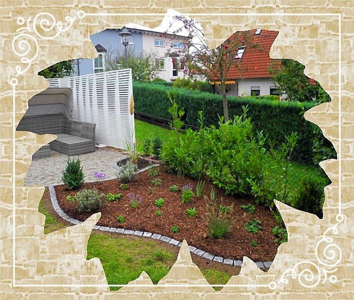 Beeteinfassung aus Granitpflaster/Bepflanzung