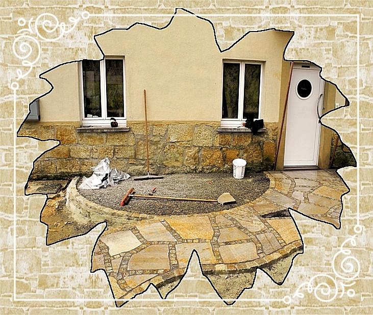 Eingangsbereich mit Muschelkalkpolygonalplatten/Pflaster