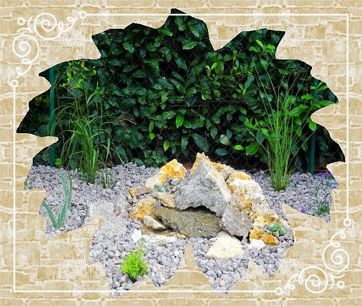 Wasserspiel/Steingarten Muschelkalkschotter