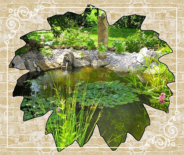 Teichanlage/Teichrandgestaltung mit Muschelkalkfindlingen
