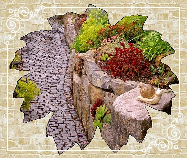 Steingarten/Mosaikpflaster-Weg Granit