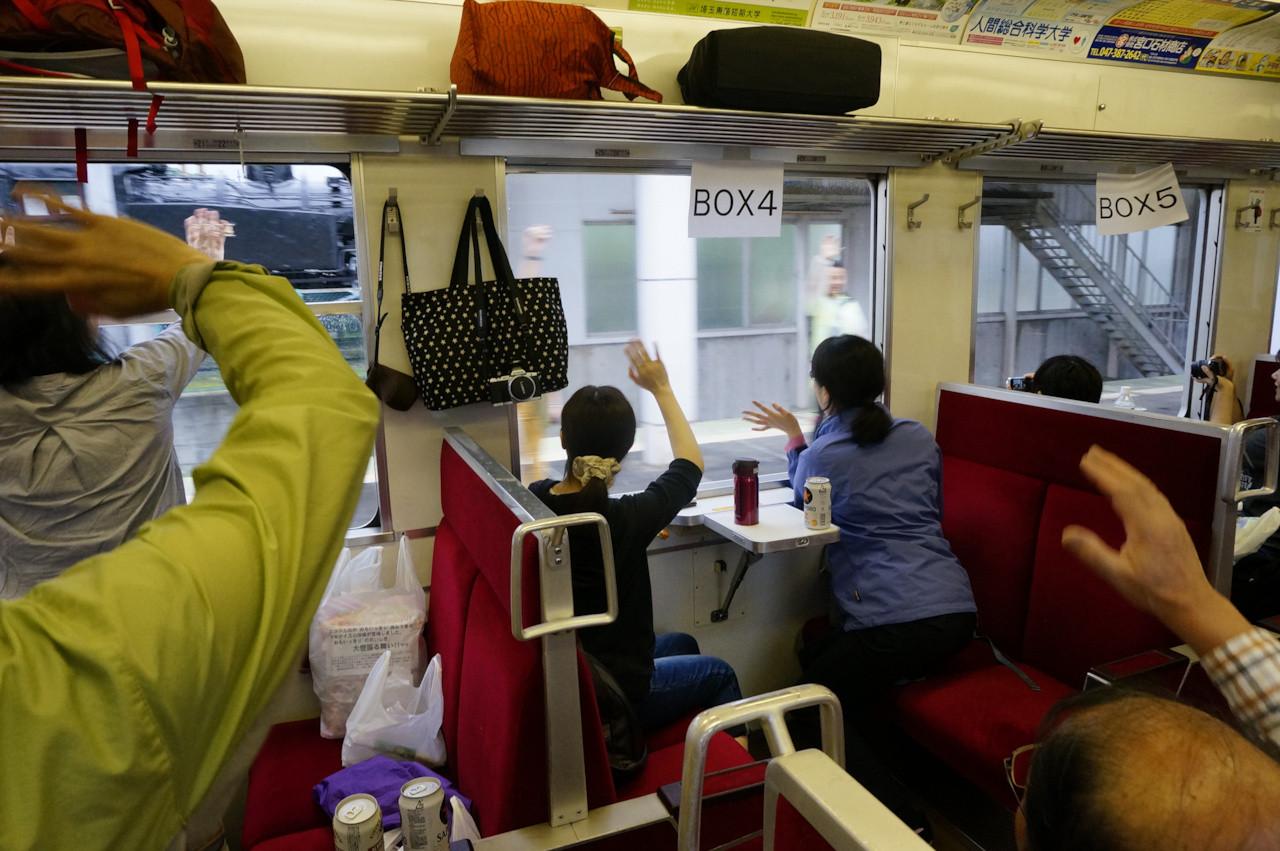 会津田島駅でサイクルトレインへと乗り換え。リーダーの関口さん!ここでさようなら~!