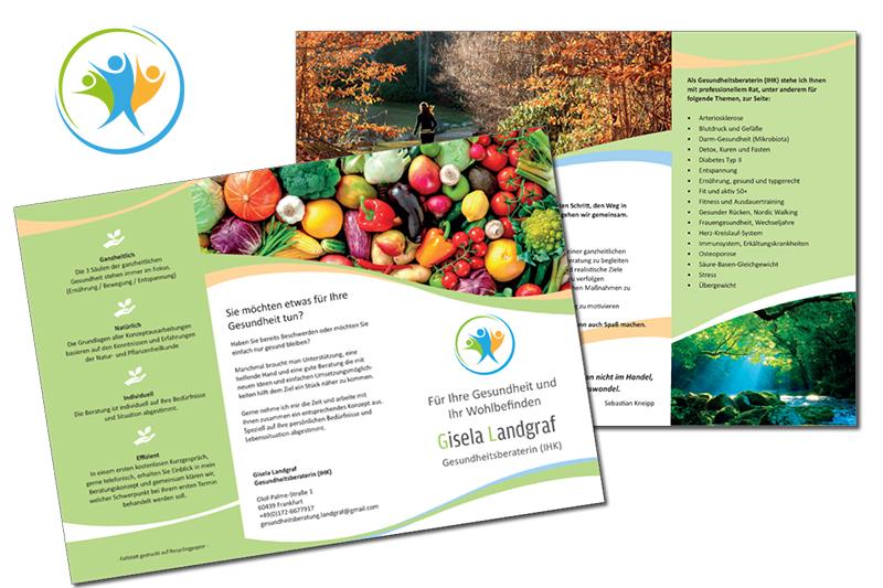 Faltblatt für Gesundheitsberaterin Gisela Landgraf, Grafikbüro Petra Kress