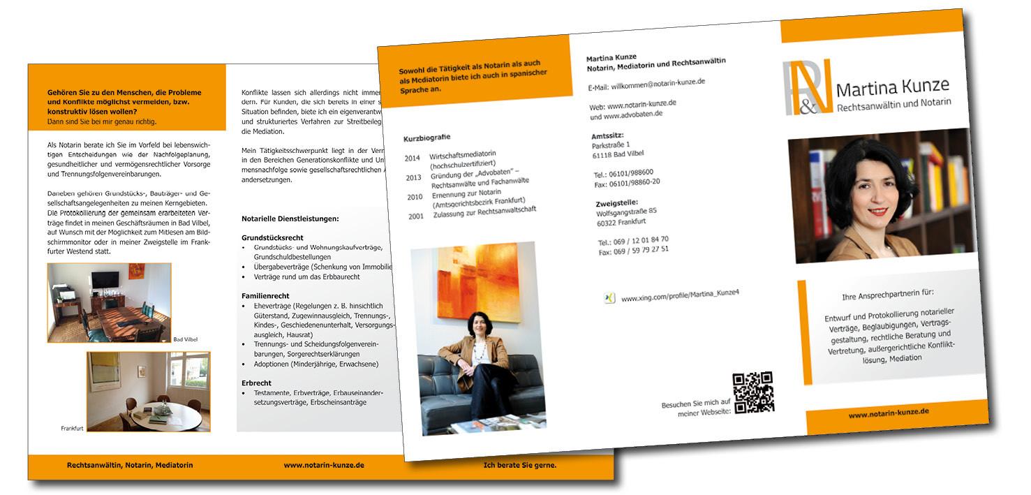 Faltblatt für Notarin Kunze in Bad Vilbel, Grafikbüro Petra Kress