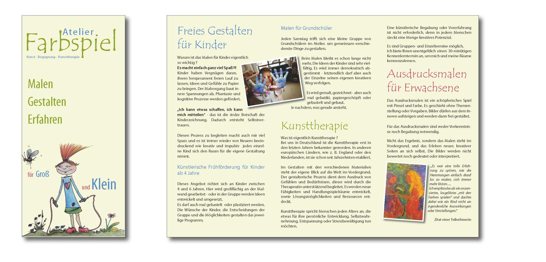 Faltblatt für Atelier Farbspiel in Frankfurt, Grafikbüro Petra Kress