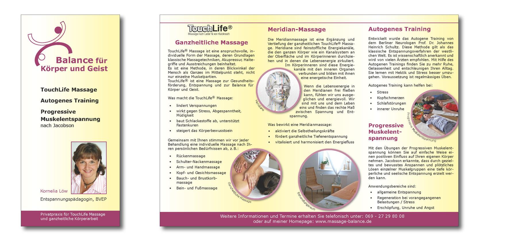 Faltblatt für Massagepraxis Kornelia Löw in Frankfurt, Grafikbüro Petra Kress