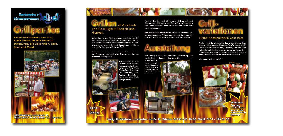 Faltblatt für Eventcatering und Erlebnisgastronomie Halligalli in Kelkheim, Grafikbüro Petra Kress