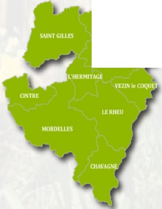 Gemouest regroupe les communes de Chavagne, Cintré, L'Hermitage,  Le Rheu, Mordelles, Pacé, St Gilles et Vezin le Coquet.