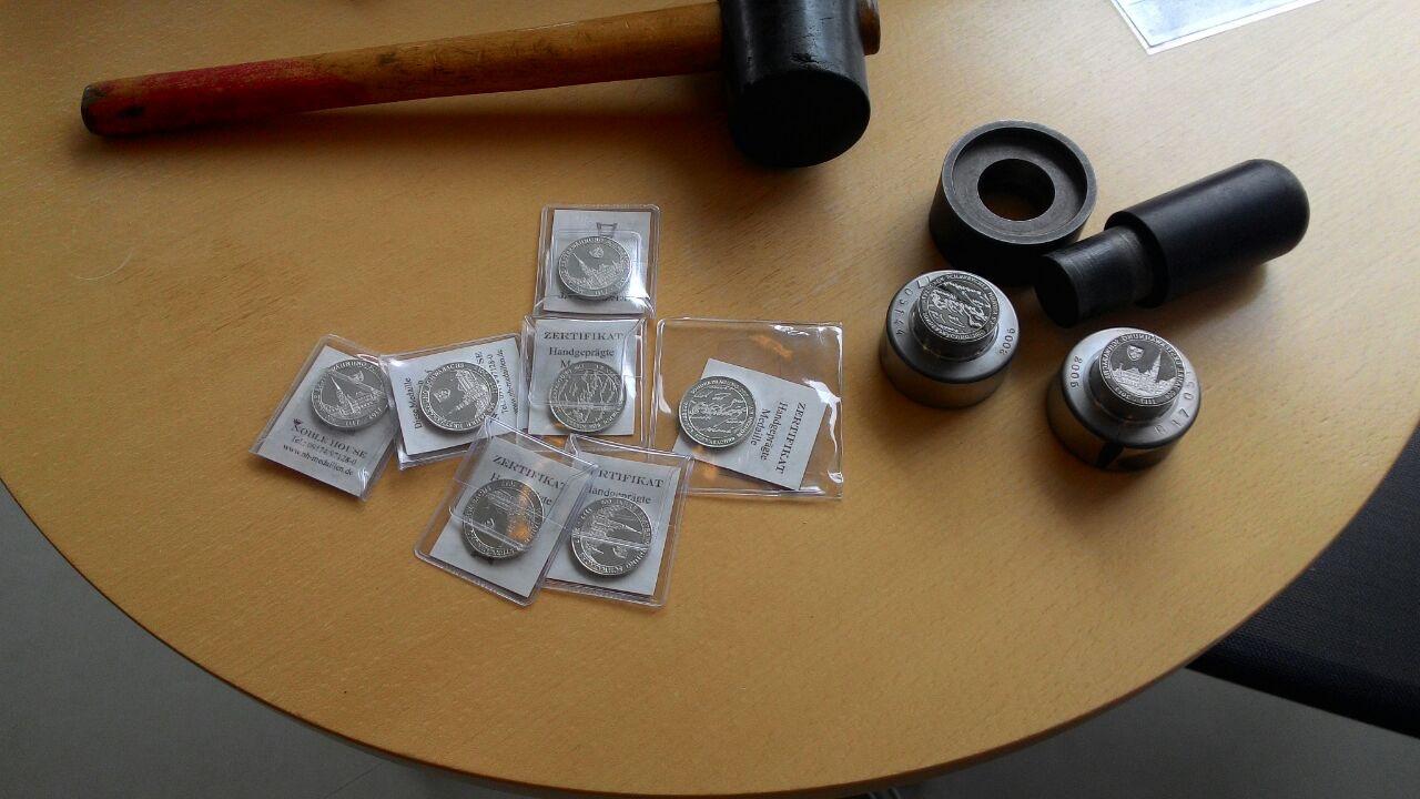 Münzwerkzeuge, und Zinnausprägungen der Jubiläumsmedaille
