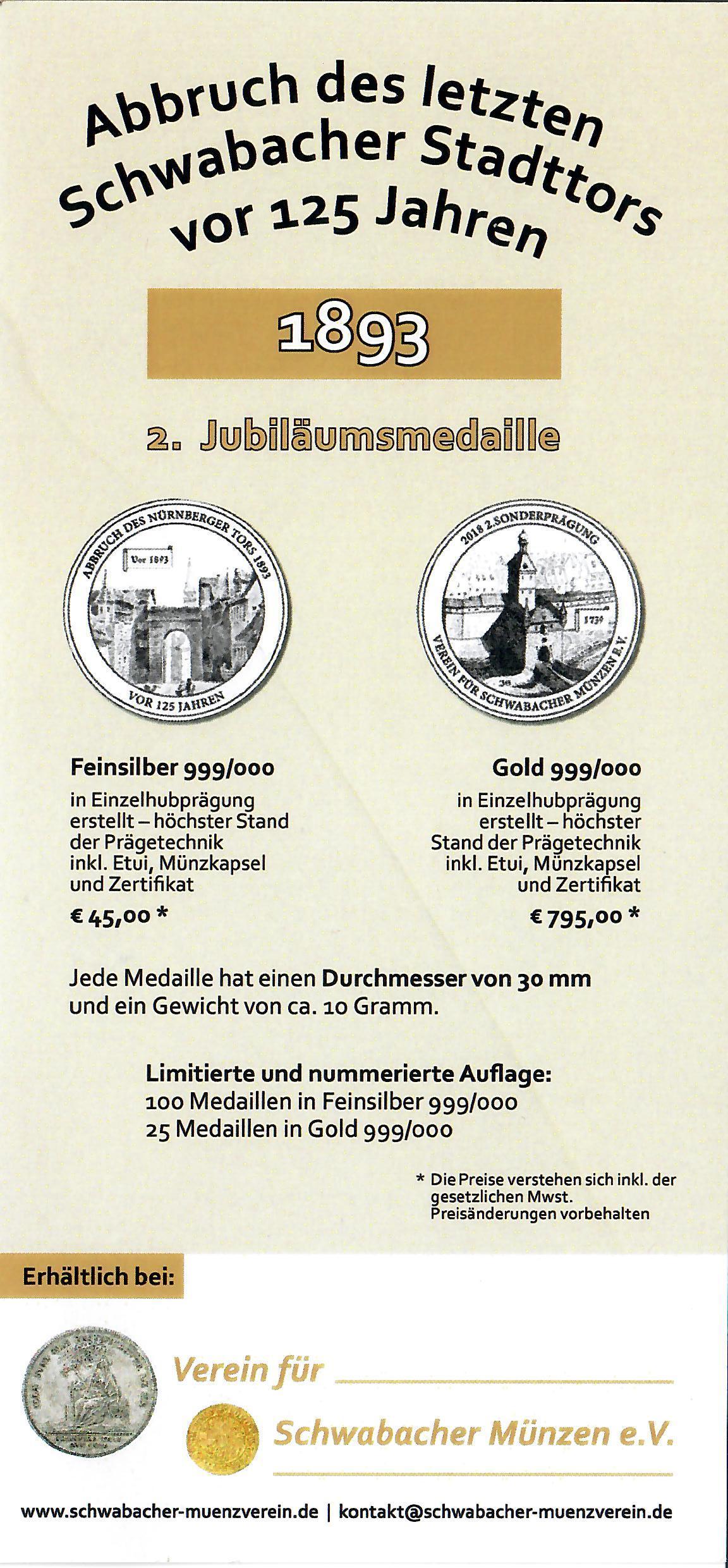 """Flyer zur Sondermedaille """"Abbruch des letzten Schwabacher Stadttors vor 125 Jahren"""""""