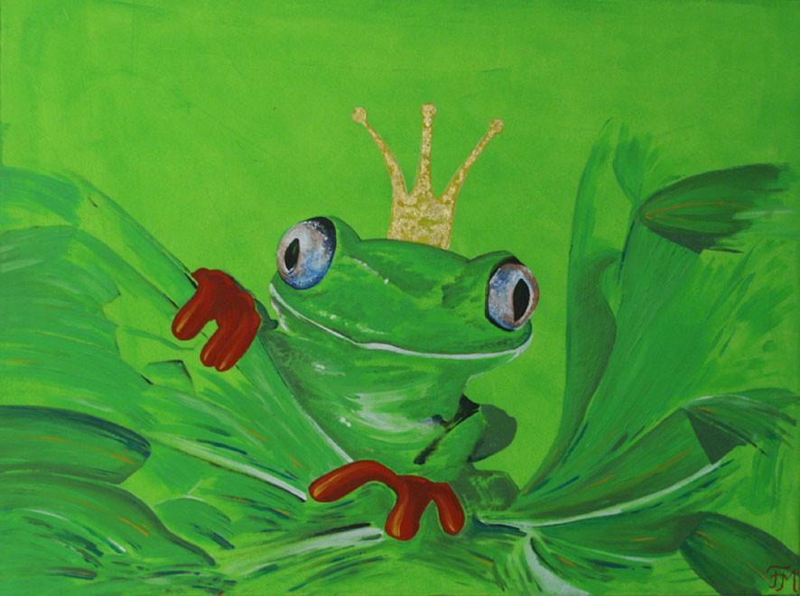 Frosch / Acryl + Blattgold / Fr.M.