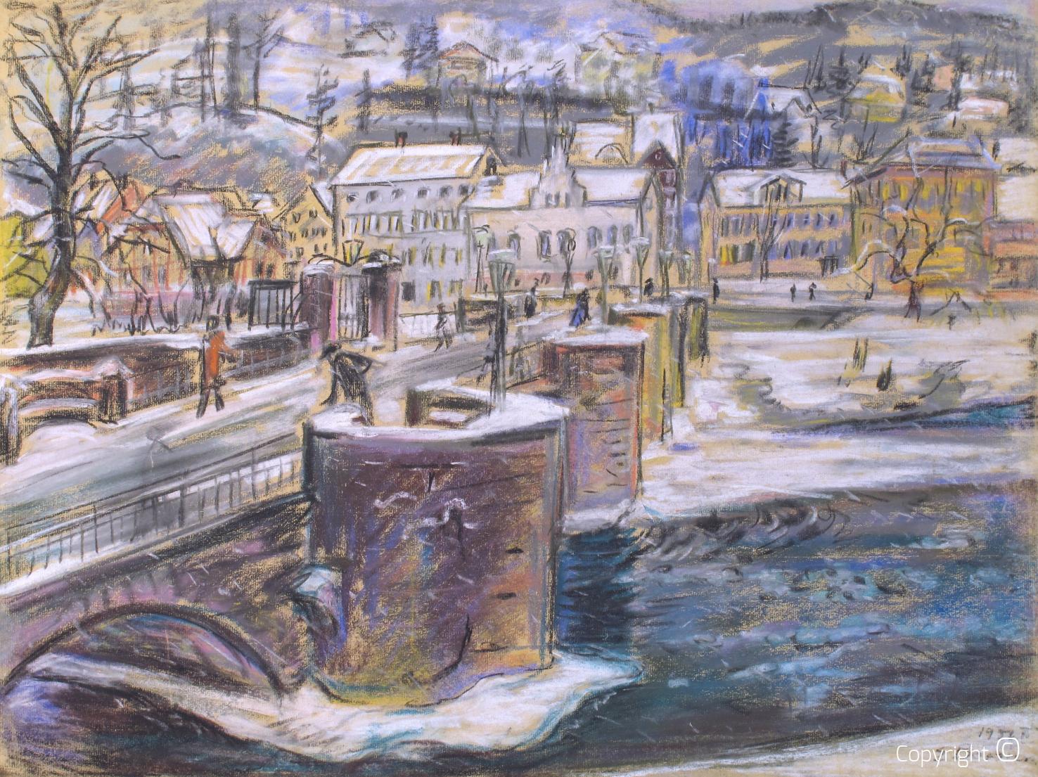 Werkverzeichnis N° 1457 - Werrabrücke in Hannoversch Münden im Winter, 1956
