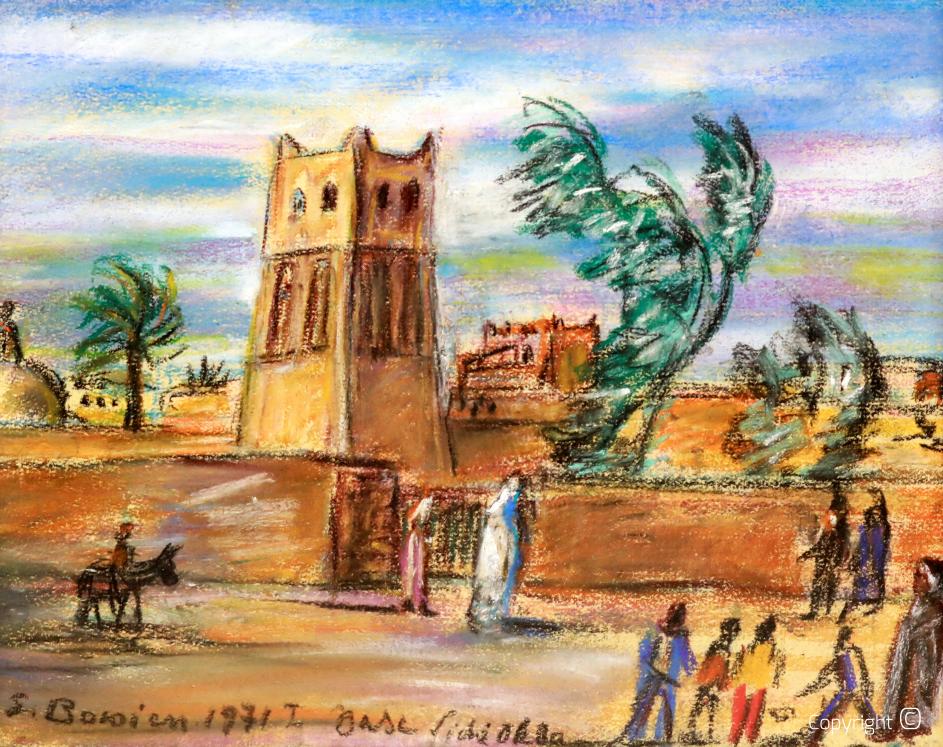 Wüstensturm über die Oase Sidi Okba, 1971