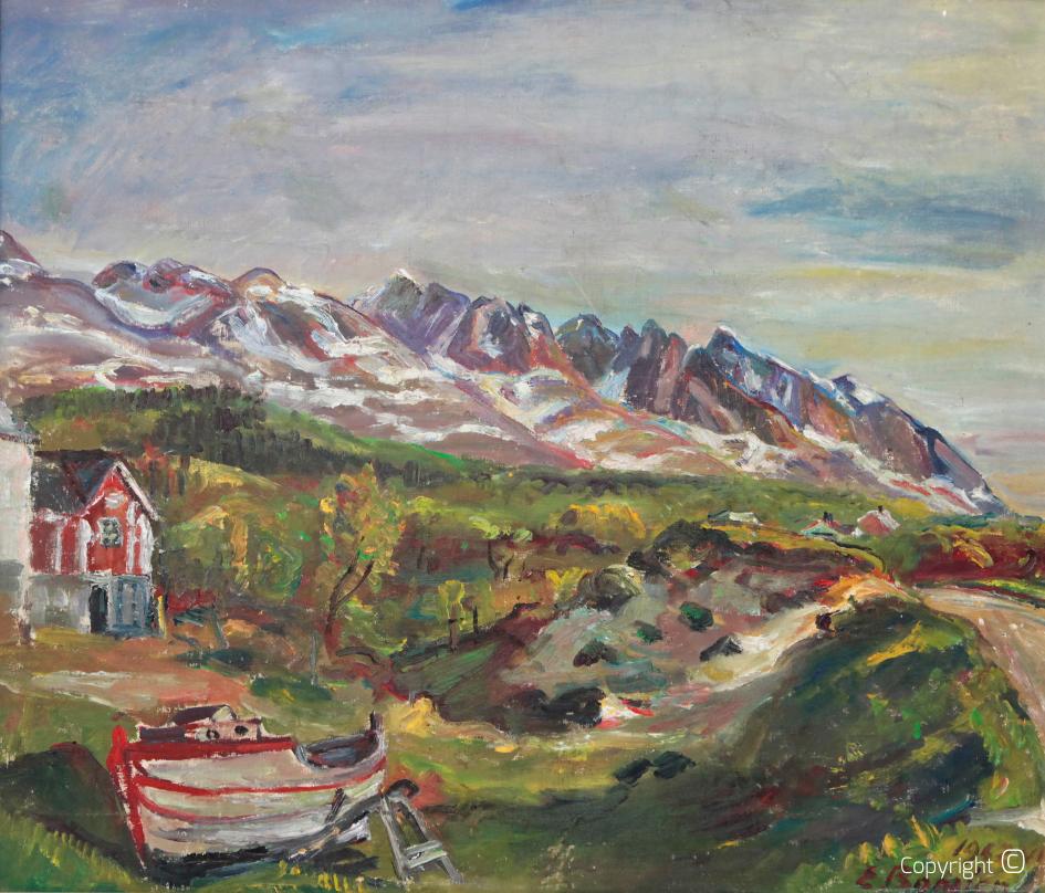 """Werkverzeichnis N ° 648 - Boot vor den """"Sieben Schwestern"""", Norwegen, 1962"""