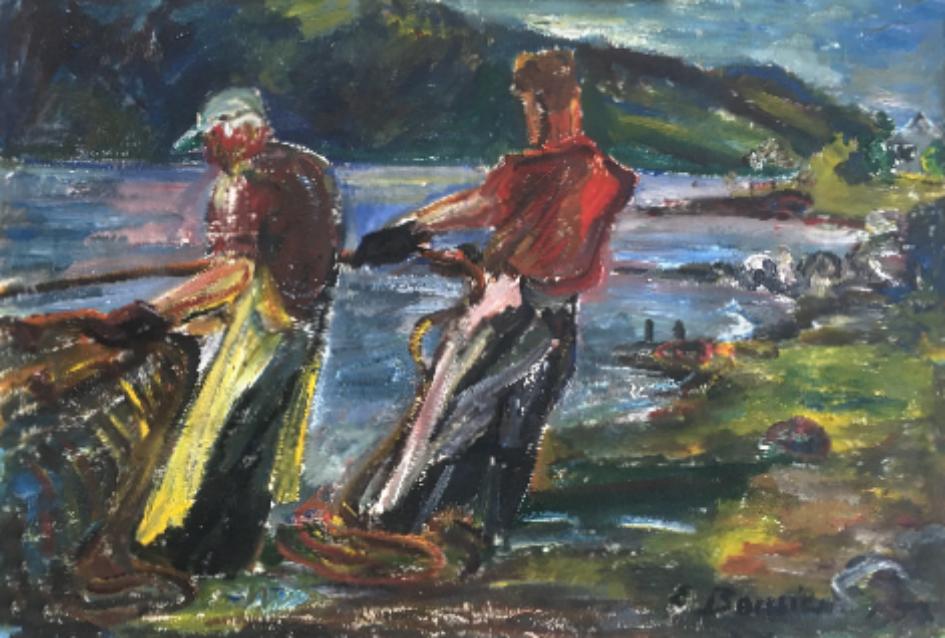 Fischer vom Mjosasee, Öl auf Leinwand, Norwegen, 1957