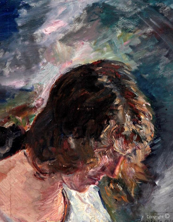 Werkverzeichnis N° 32 – Frieda Enzenross mit herabhängendem Haar, 1928