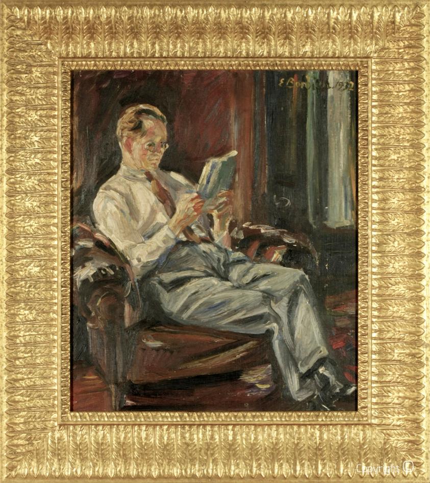 Werkverzeichnis N°61 – Hanns Heinen, im Sessel lesend, 1932
