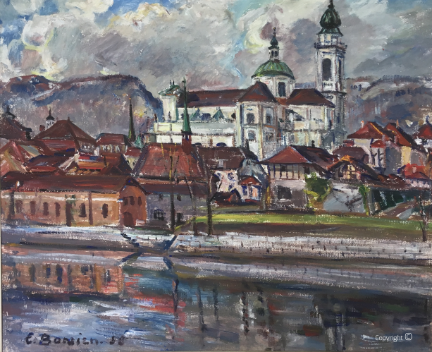 View from the banks of the Aare to the Sankt Ursen Cathedral in Solothurn, Switzerland, oil on canvas, 1958