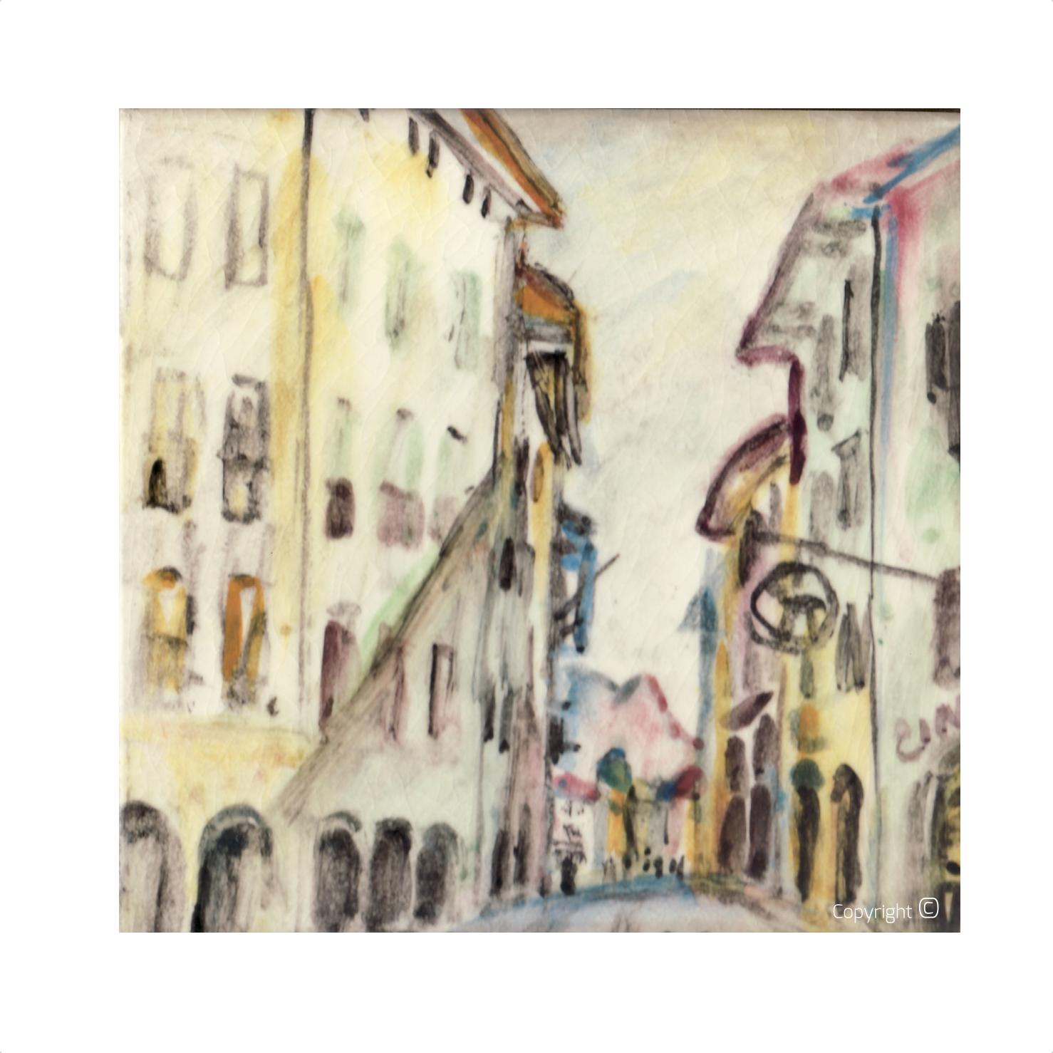 Straßenansischt in Bellinzona, 1963