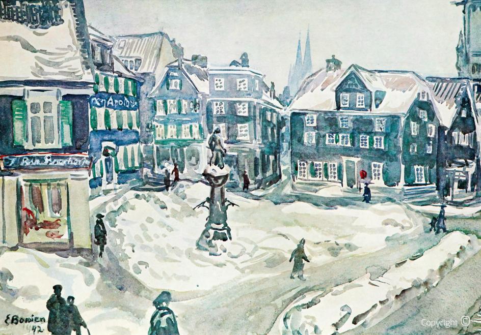 Werkverzeichnis N° 1835 - Alter Markt Solingen im Winter, 1942